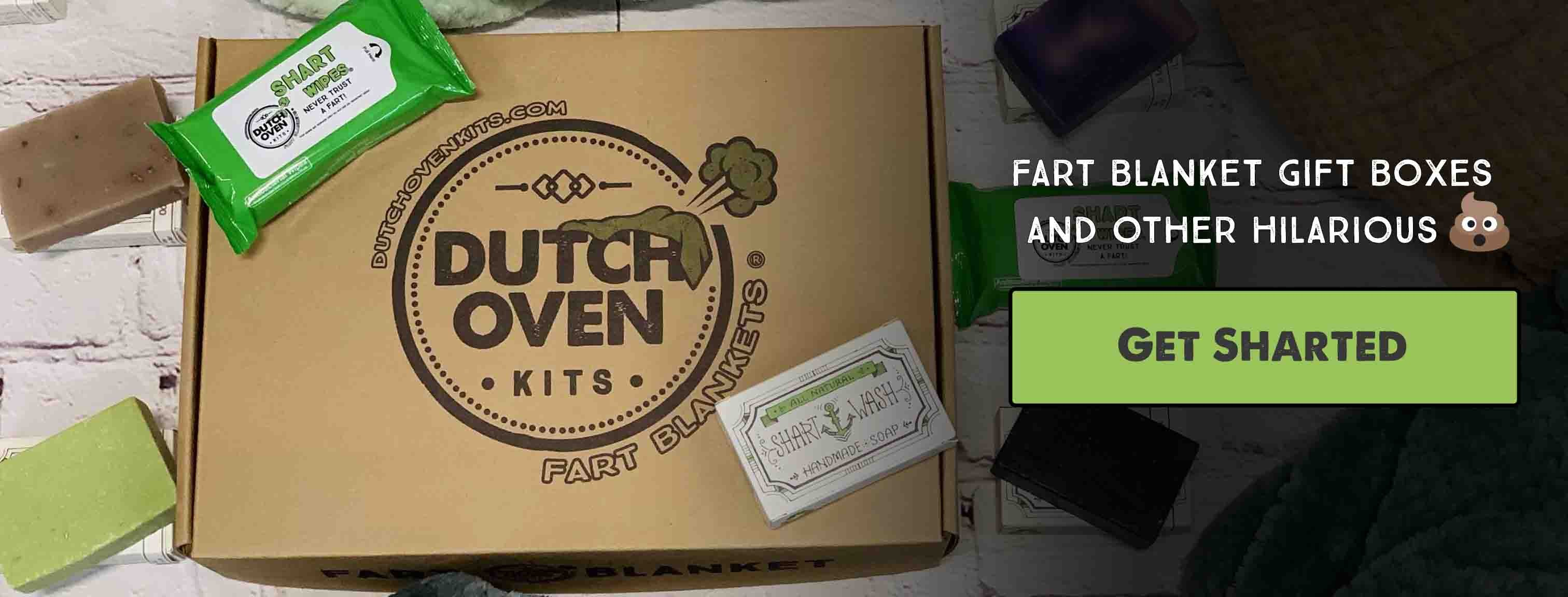 picture of a dutch oven kits box, shart wipes and shart wash soap on a brick background
