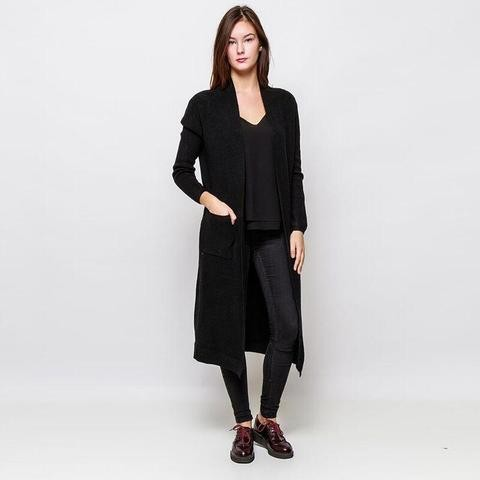 Maxi Cardigan Pockets Black
