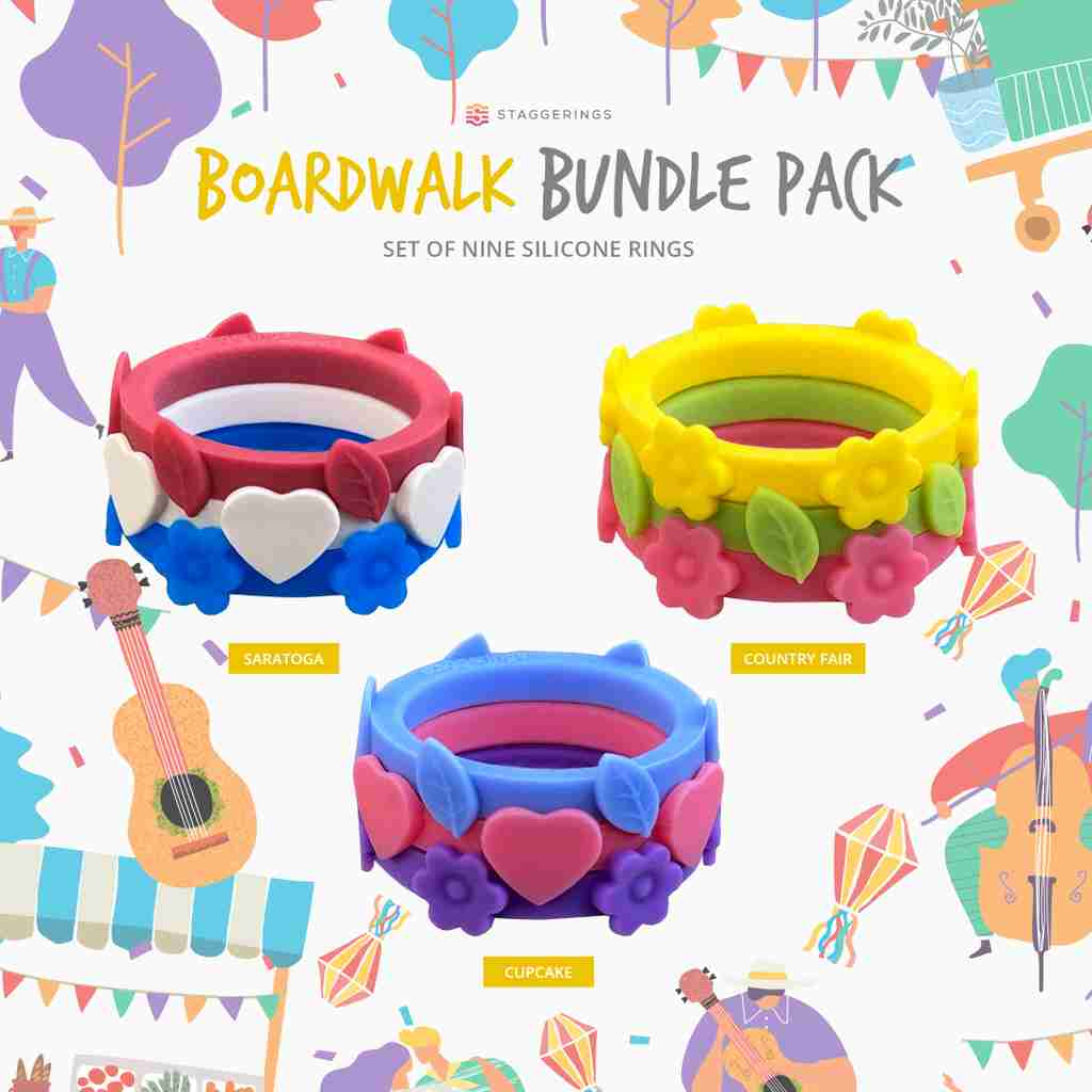 Silicone ring bundles representing the boardwalk bundle pack