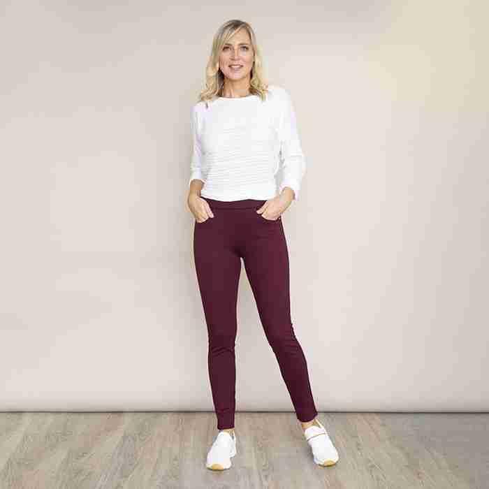 Ann's Stretch Waist Trousers(Wine)