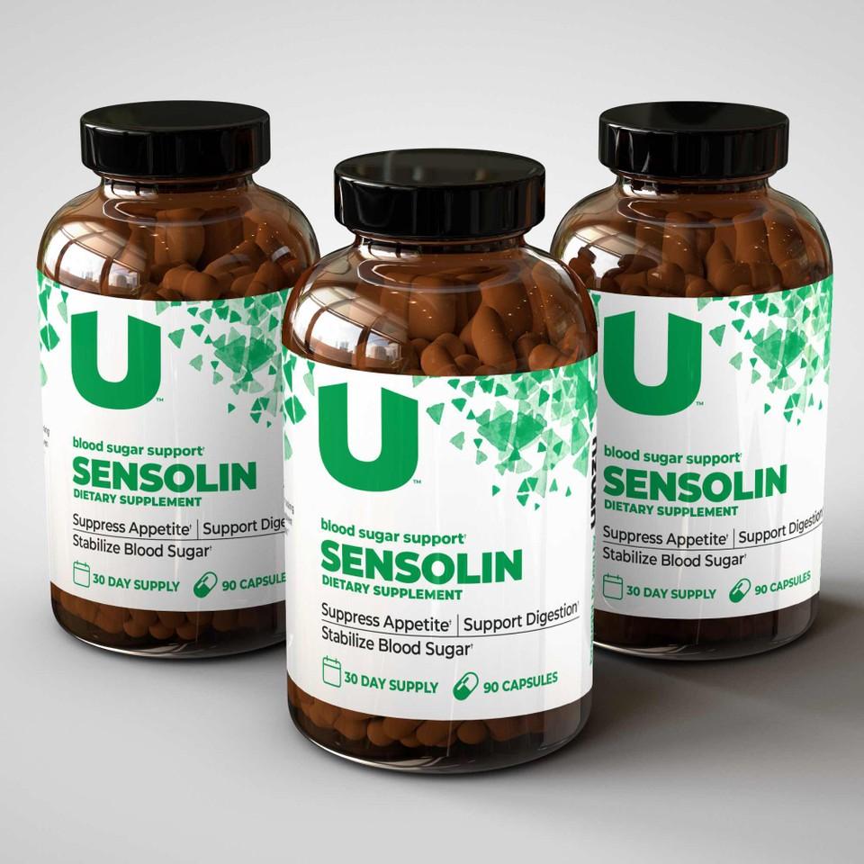 three bottles of the Sensolin supplement