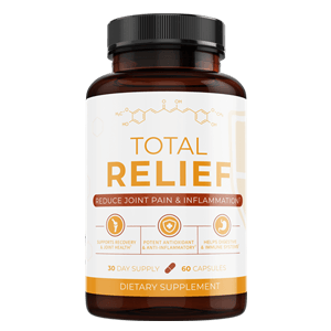 Front view of Total Relief supplement bottle