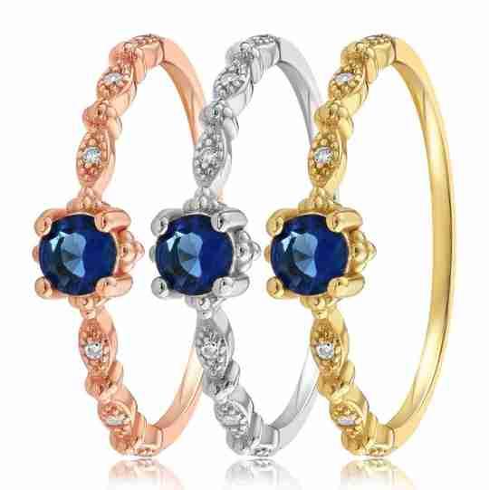 The Blue Garen ring in three metal tones