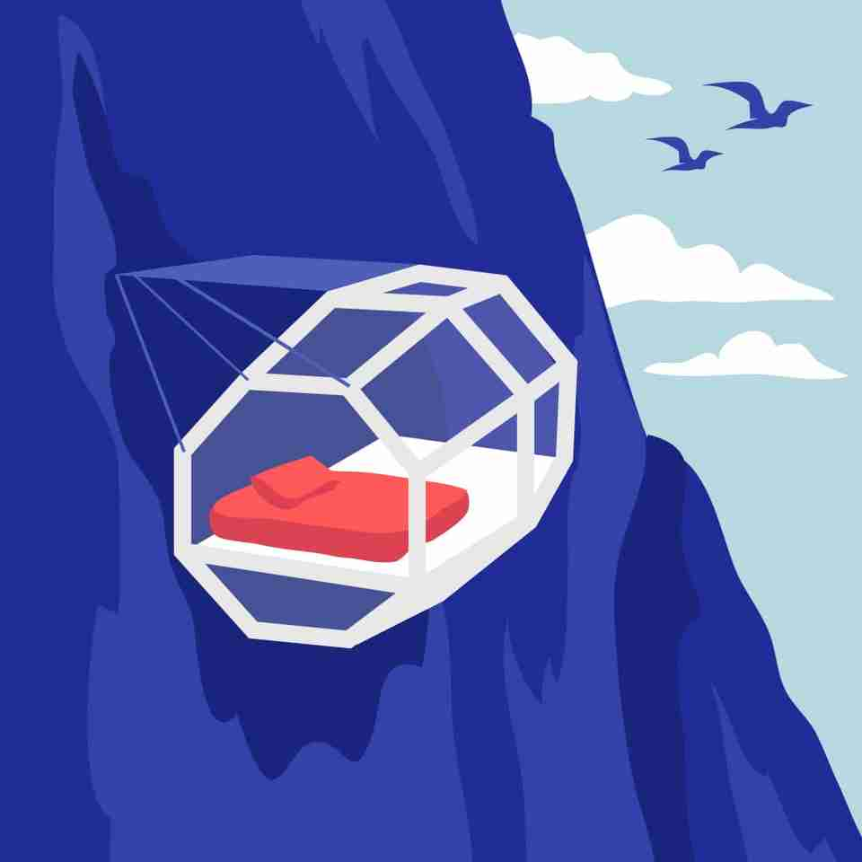 If you're one of the brave ones, try out Skylodge Adventure Suites, which is a clear capsule that hangs off the side of a mountain in Peru, overlooking the Cuzco Valley.