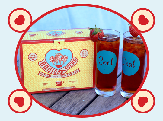 rooibos rocks boxes with ice tea
