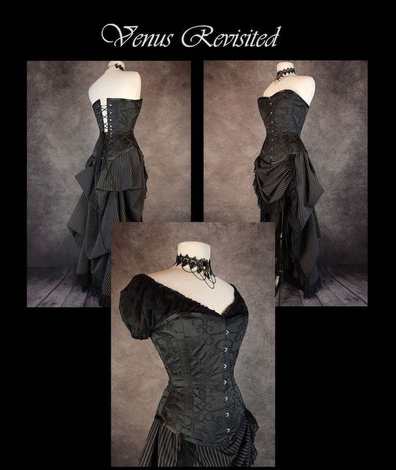 New over bust corset made in Australia, black brocade, steel boned, made to measure
