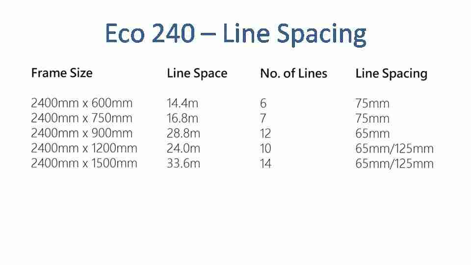 eco 240 2200mm wide clothesline line spacing options