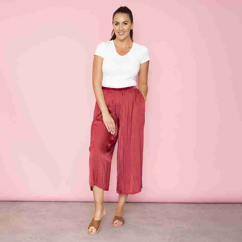 Aly Loose Elastic Waist Trousers (Cherry)