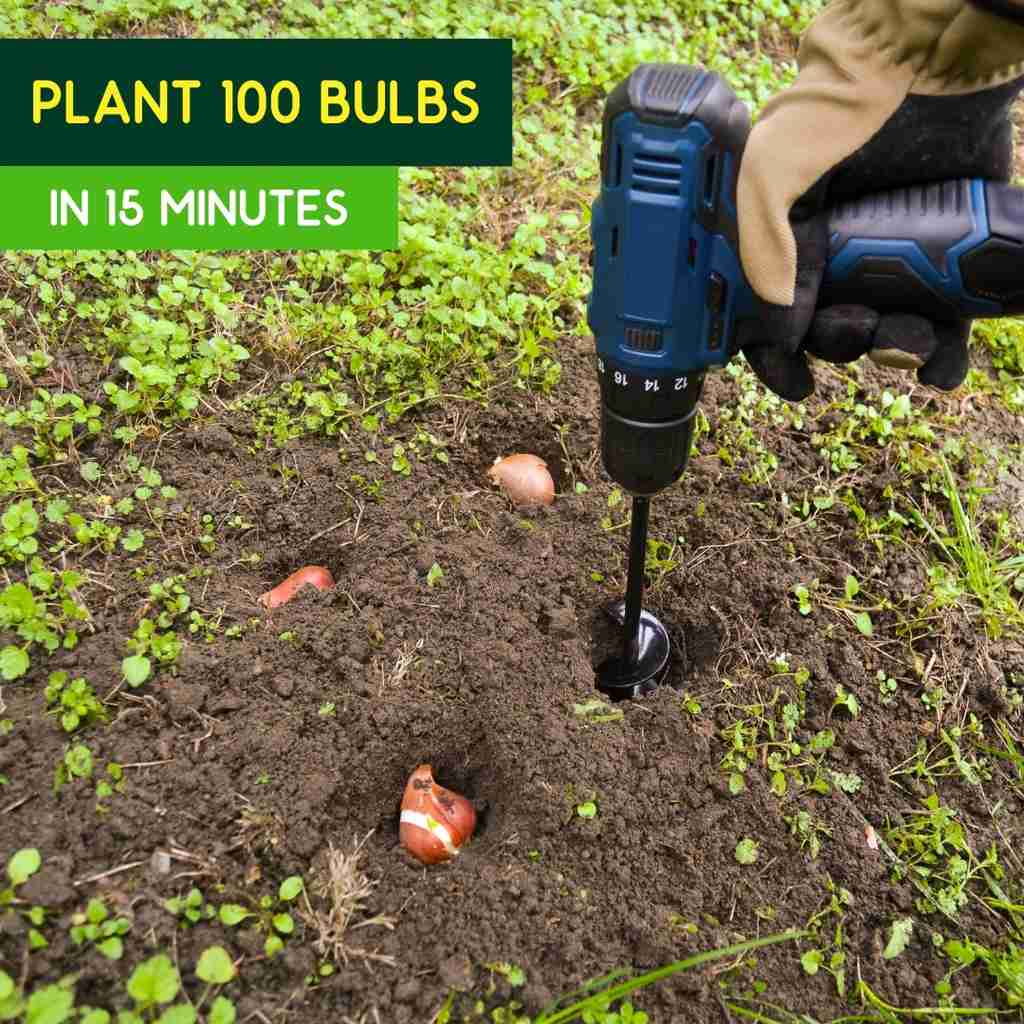 Plant 100 bulbs in 15 minutes with the Drill Planter