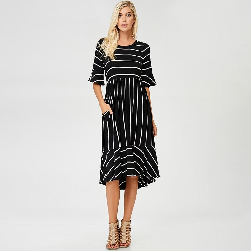 Suzy Stripe Ruffle Midi Dress Black