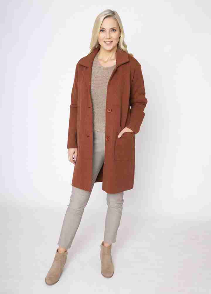 Revere Collar Coat Cardi in Rust