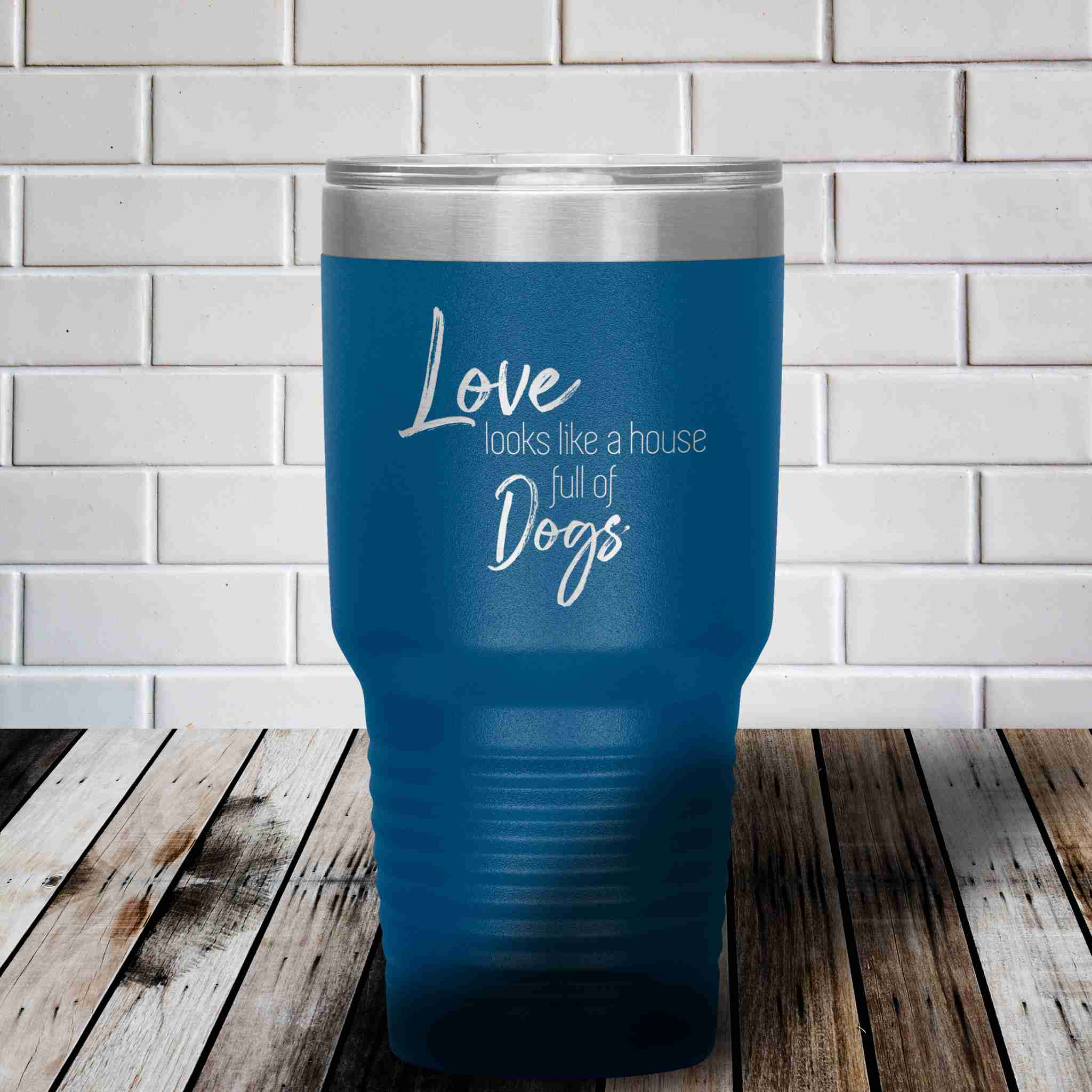 Love is a house full of dogs dachshunds stainless steel tumbler drinkware