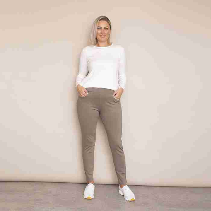 Ann's Stretch Waist Trousers - Plus Size(Khaki - Light)