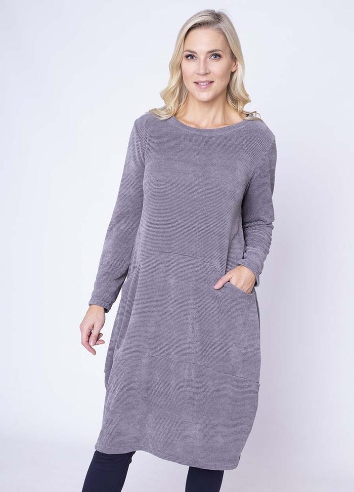 Velour Pocket Dress in Grey
