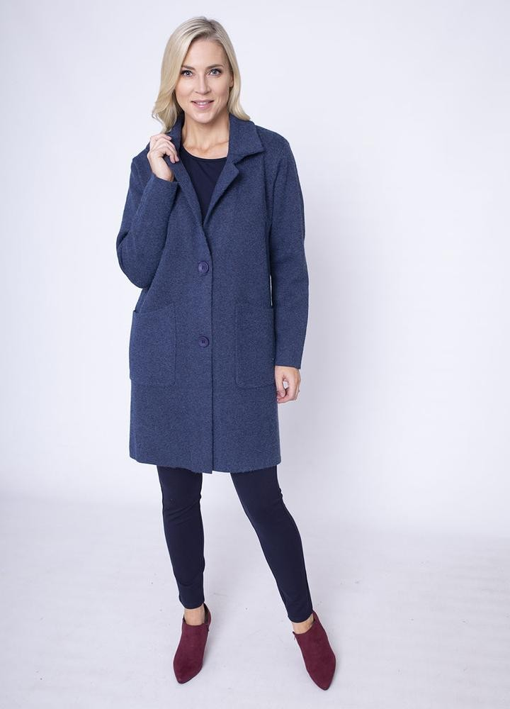 Revere Collar Coat Cardi in Blue