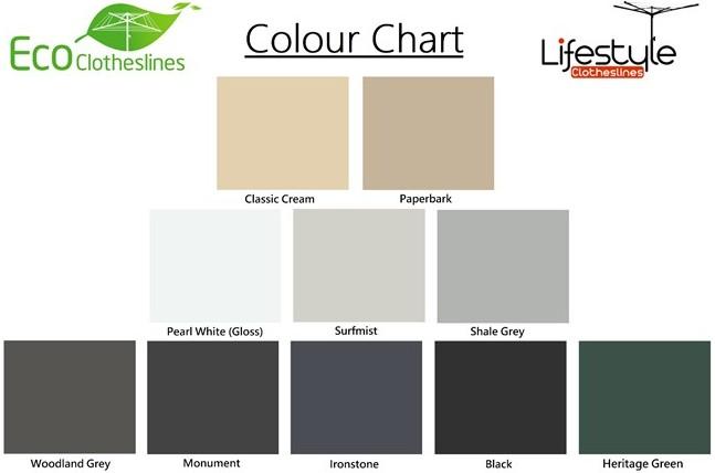 eco clothesline colorbond colour range