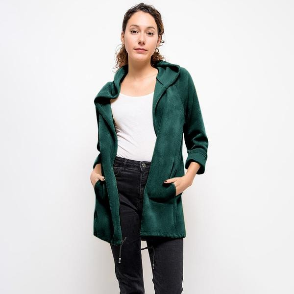 Vella Chenille Hooded Cardigan Forest Green