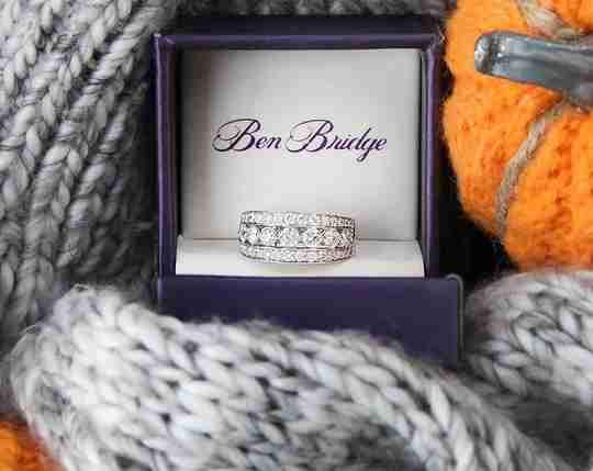 A diamond ring in a Ben Bridge ring box