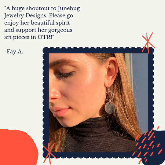 A customer testimonial after a visit to the Junebug Jewelry Designs storefront