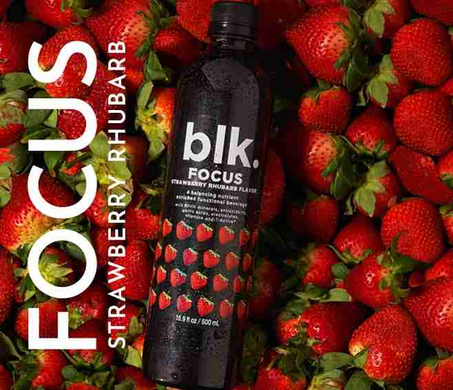 blk. Focus Strawberry Rhubarb Excellent For Concentration All Natural Spring Water