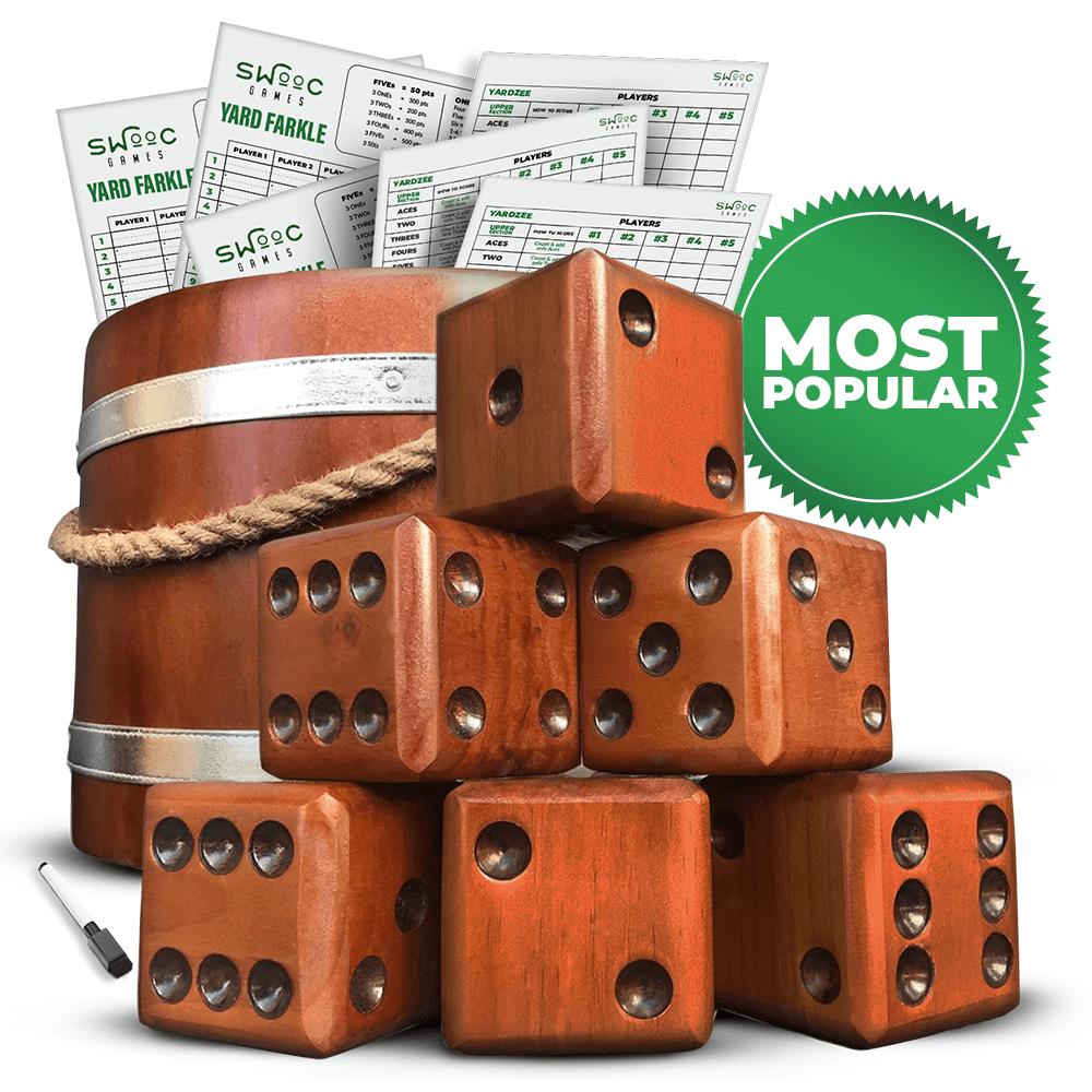 Yardzee & Farkle Giant Dice with Wooden Bucket (20+ Games Included)
