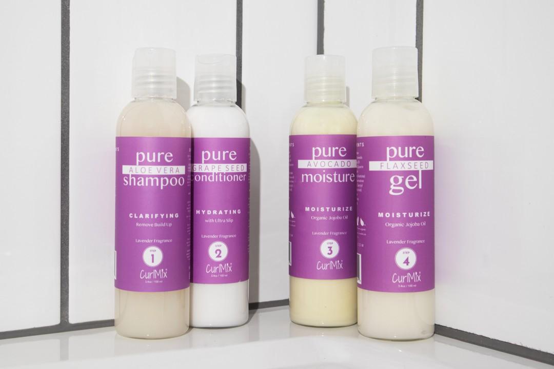 Sample Lavender Wash + Go System with Organic Jojoba Oil for Moisturizing Hair (Step 1 - 4)