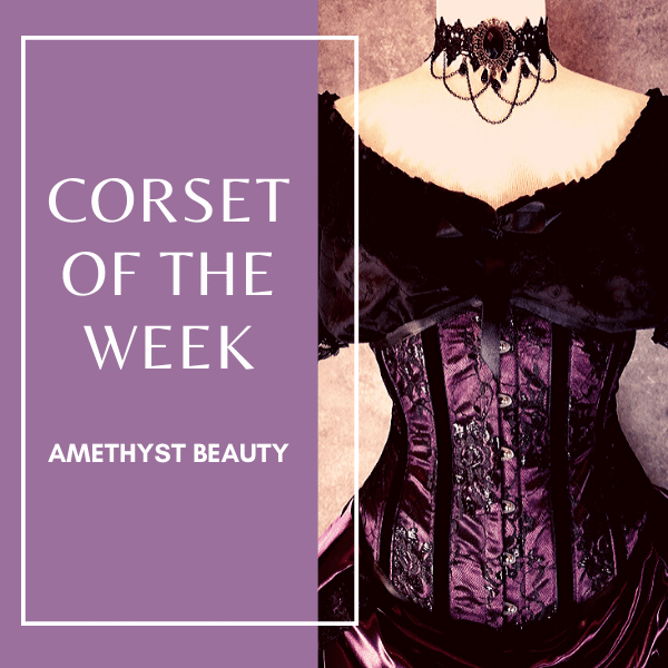 Amethyst Beauty Under bust corset - Australian made Amethyst satin covered with french gothic lace steel boned corset from Gallery Serpentine