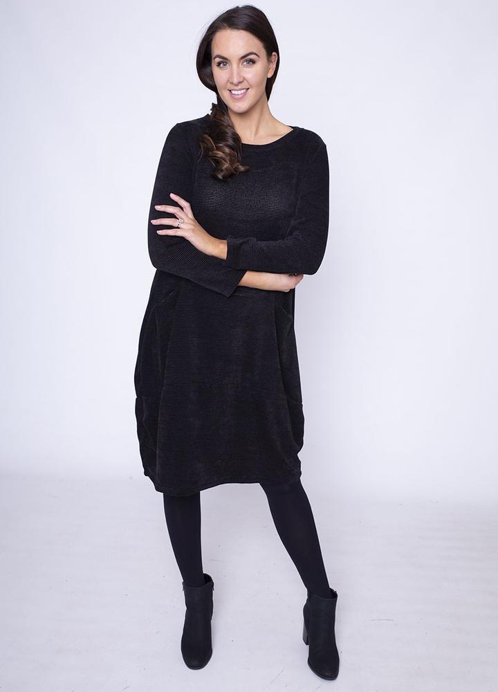 Velour Pocket Dress in Black