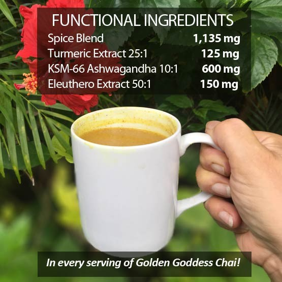 2,010 mg of functional ingredients in every serving of Golden Goddess Turmeric Chai Elixir