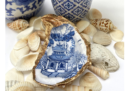 Blue and White Oyster Shell Jewelry Dish Chinoiserie