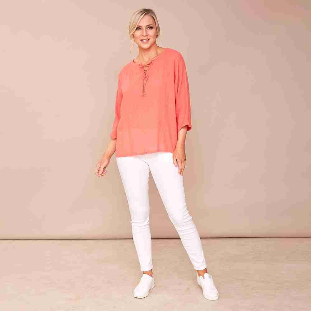 Donna Tie Lace Linen Top(Coral)