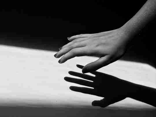 monochrome photography of a right hand