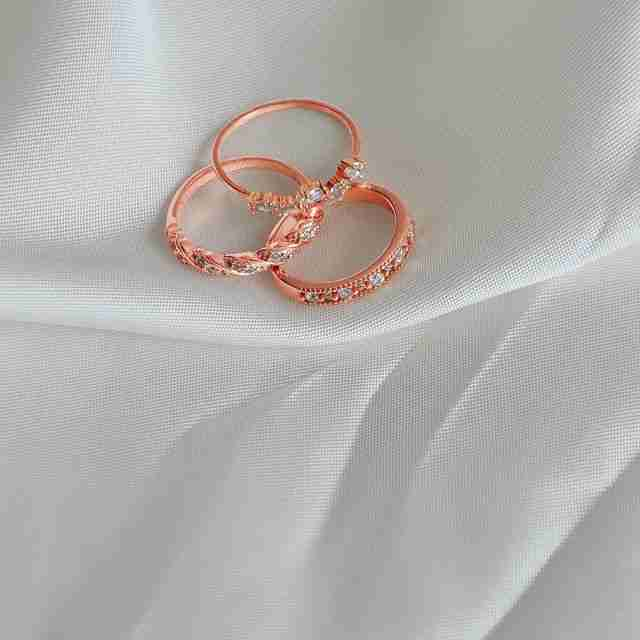 Three 18k rose gold vermeil rings