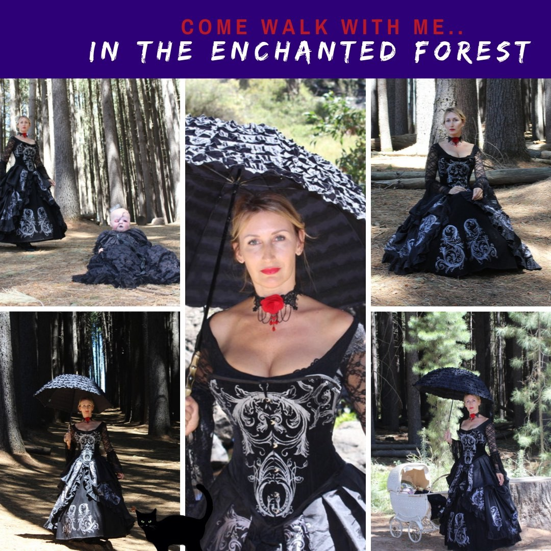 Silvia in Baroque Scrolls Tudor Harlotte Corset Gown in black velvet & taffeta, hand screen printed, walking in a spooky forest
