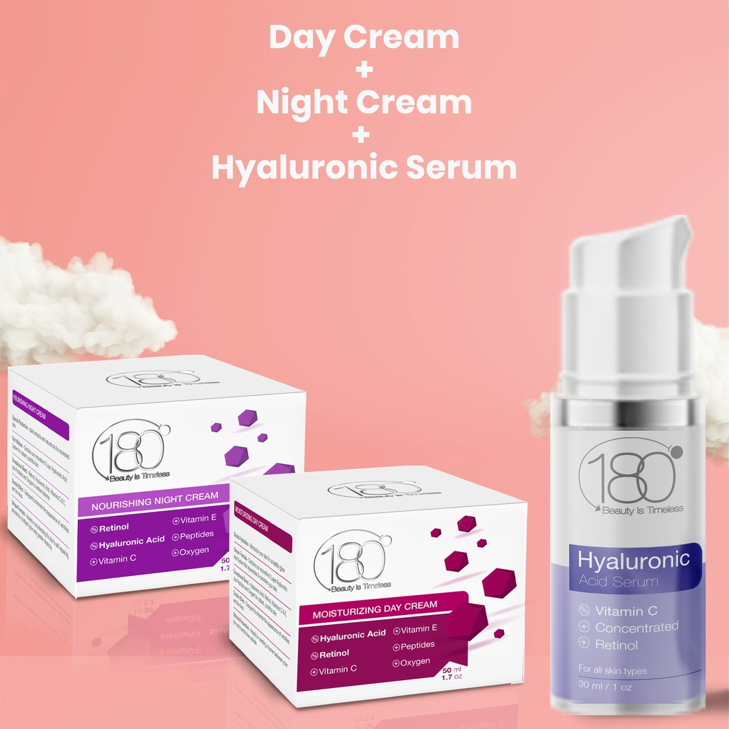 180 Hyaluronic TRIO Kit - Hyaluronic Serum - Day Cream - Night Cream (3 Full-Size Products)