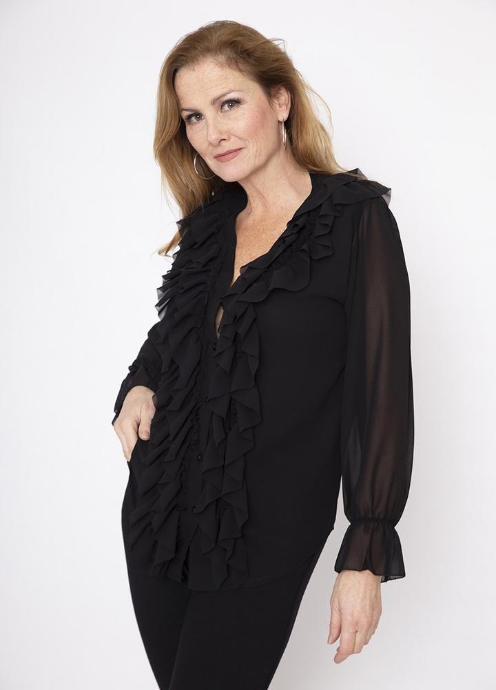 Frill Chiffon Blouse in Black