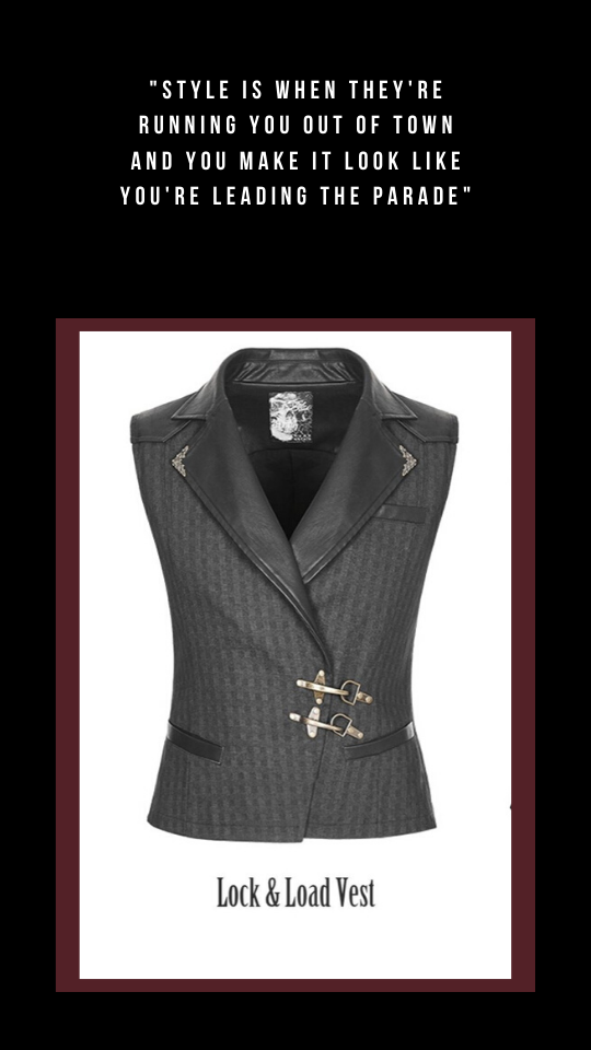 Lock & Load Vest in a dark grey black fabric with bronze clip buckles at the front, black faux leather collar and a quote above the vest image