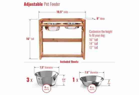 adjustable height elevated pet feeder comes with four stainless steels total
