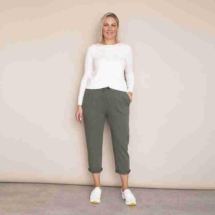 Jackie Drawstring Trousers - Plus Size(Khaki)