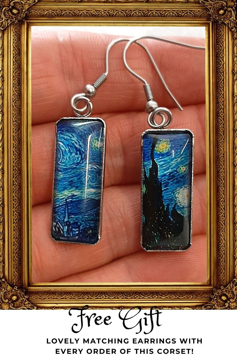 rectangular shaped Van Gogh Starry Night resin earrings with silver hooks as a free gift with purchase of the Starry Night