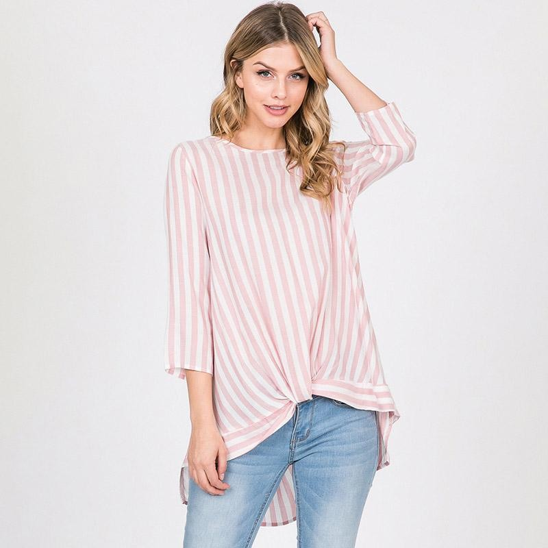 Sinead Stripe High Low Blouse Pink
