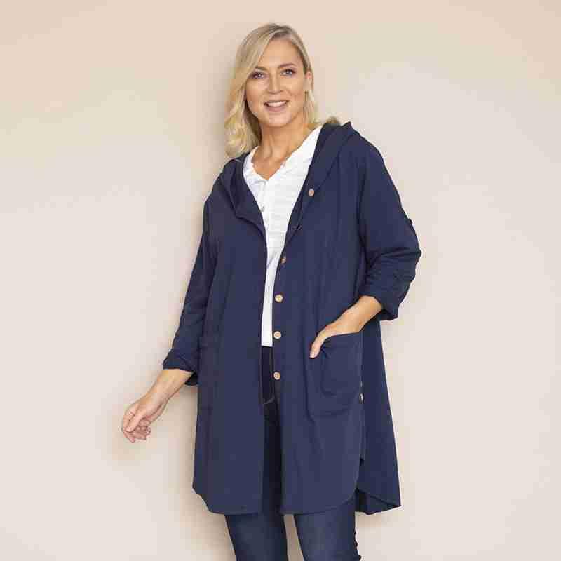 Crinkle Cotton Hoody Jacket (Navy)