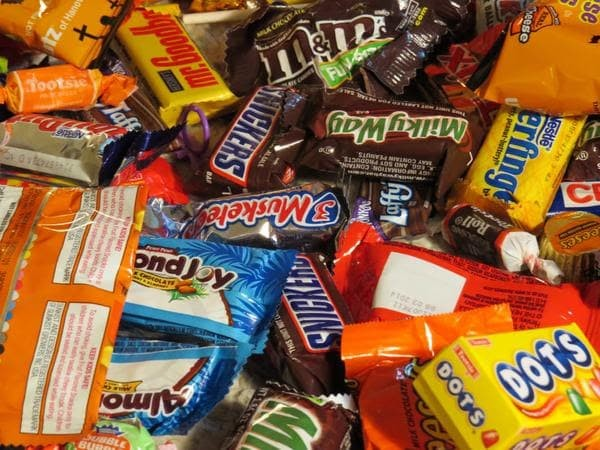 Candy Pile Dots Snickers Almond Joy Milky Way Tootsie Roll Mr. Goodbar Reeses