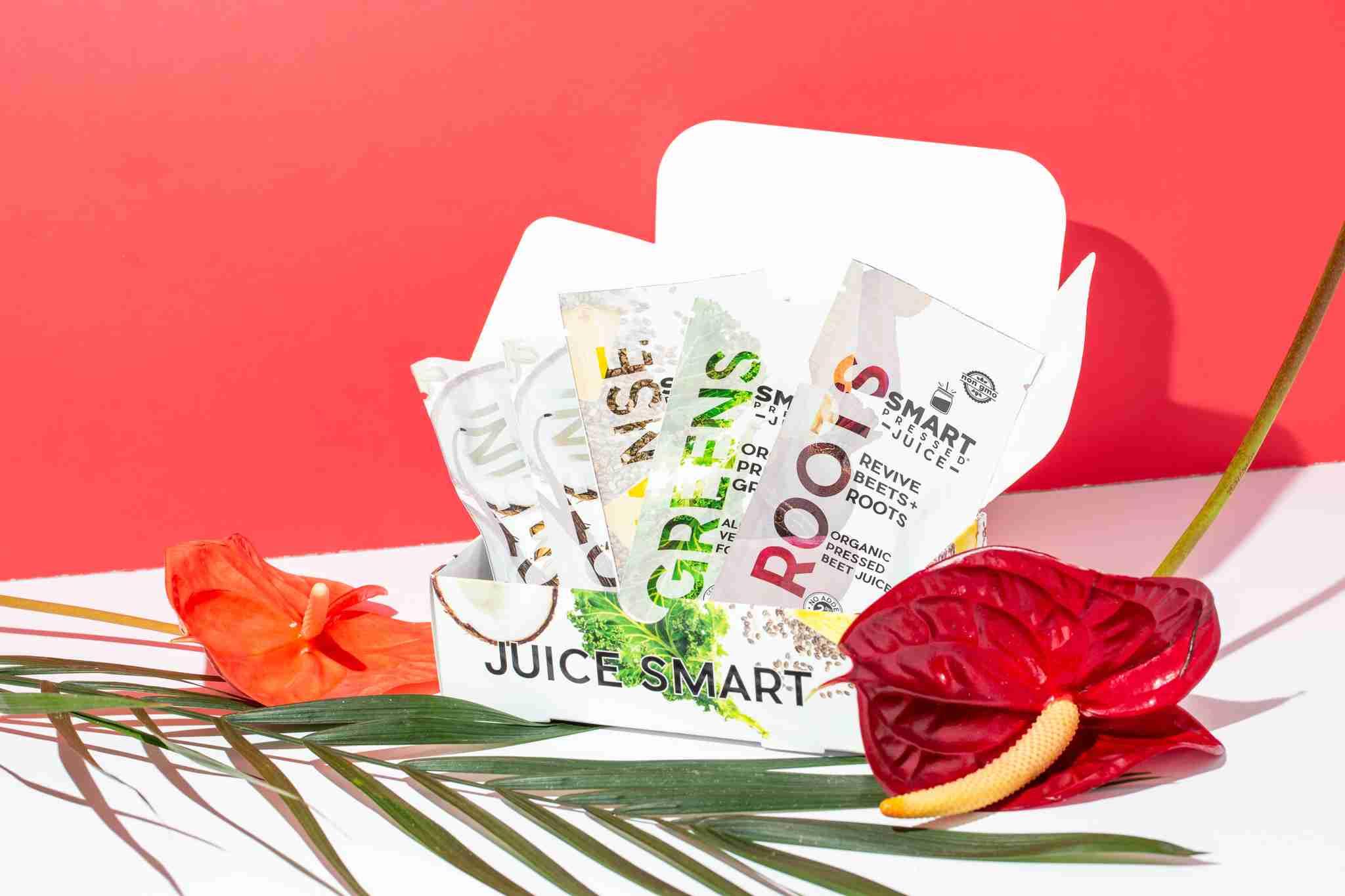 A box with packets of Smart Pressed Juice Cleanse routine