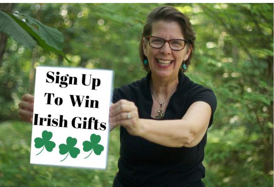 Sign up to Win Free Irish Gift Catherine holding sign