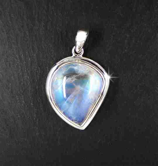 A reflective moonstone pendant