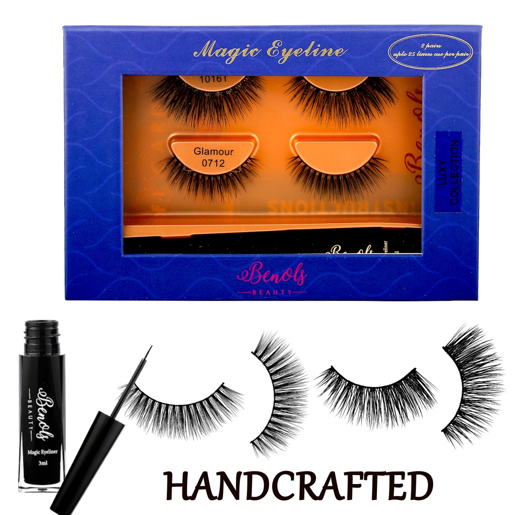 2 Pair 3D Mink Lashes with Extra Bond Magic Eyeliner (LUXY COLLECTION)