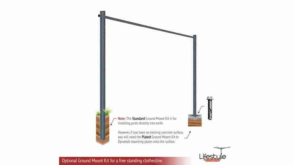 1400mm wide clothesline ground mount kit
