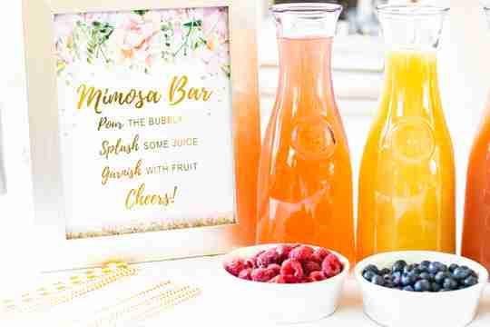 Mimosa Bar Kit Sign Fruit Juice