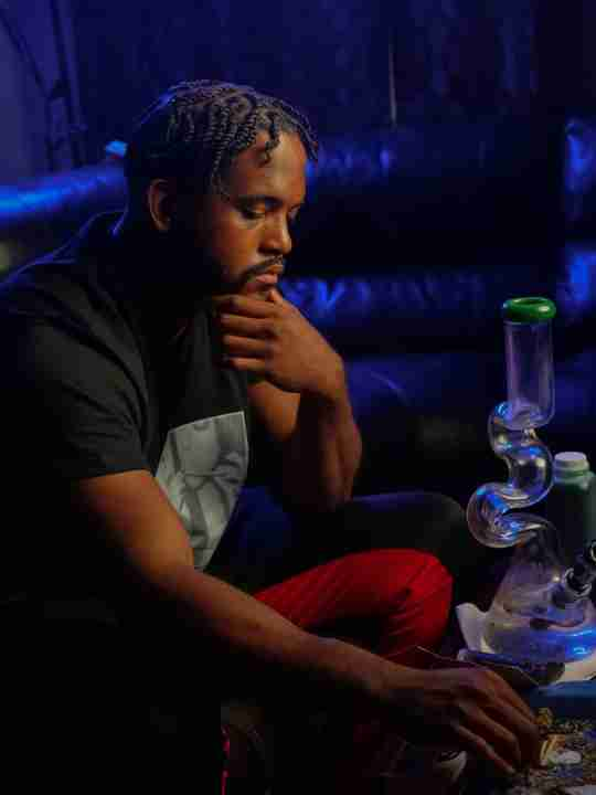 person smoking weed